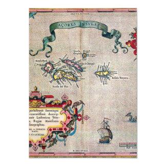 Azores Old Map - Vintage Sailing Exploration 11 Cm X 16 Cm Invitation Card