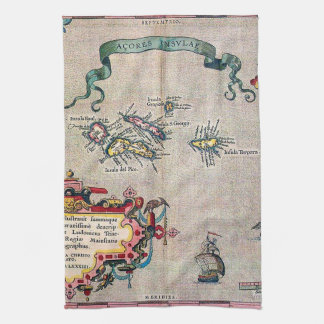 Azores Old Map - Vintage Sailing Exploration Tea Towel