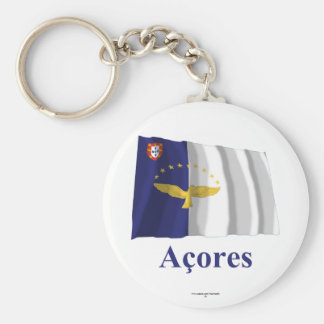 Azores Waving Flag with Name in Portuguese Key Ring