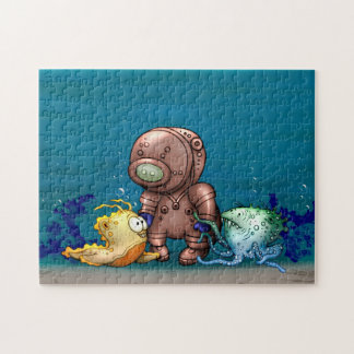 AZOTO DIVER ALIENS CARTOON PUZZLE 11 X 14
