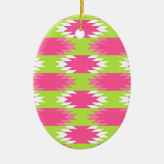 Aztec Andes Tribal Hot Pink Lime Green Pattern Ceramic Oval Decoration