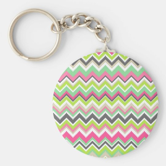 Aztec Andes Tribal Mountains Chevron Zig Zags Key Ring
