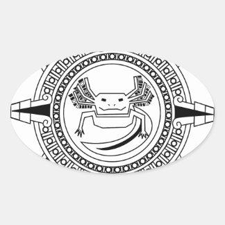 Aztec Axolotl Oval Sticker