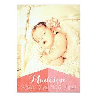 Aztec Baby Girl Birth Announcement Photo Card