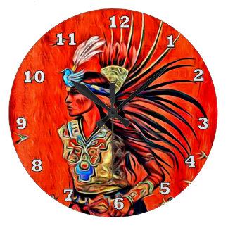 Aztec Bird Dancer Native American Clock