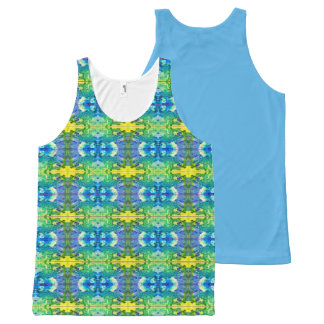 Aztec Blue & Green All-Over Print Tank Top
