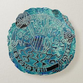 """Aztec blues Cotton Round Throw Pillow (16"""")"""