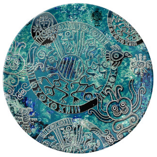 Aztec blues Decorative Porcelain Plate