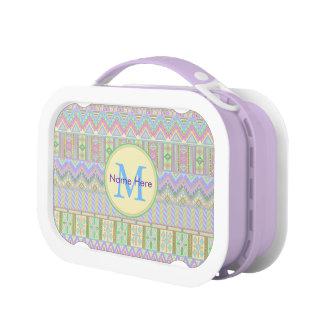 Aztec Boho Pastels Monogram Girly Chic Pattern Lunchbox