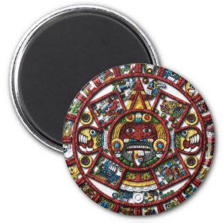 Aztec Calendar 6 Cm Round Magnet