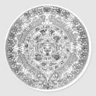 aztec calendar classic round sticker