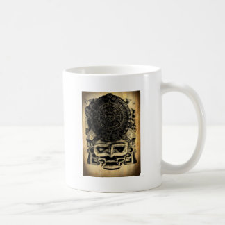 Aztec Calendar Design Mask Mexican Sunstone Basic White Mug