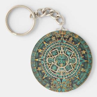 Aztec Calendar in detail Basic Round Button Key Ring