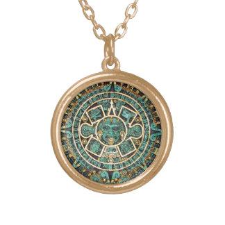 Aztec Calendar in detail Round Pendant Necklace