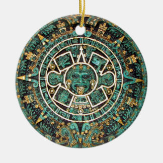 Aztec Calendar in detail Round Ceramic Decoration