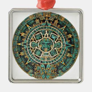 Aztec Calendar in detail Silver-Colored Square Decoration