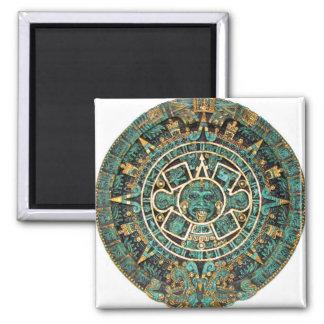 Aztec Calendar in detail Square Magnet