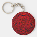 Aztec Calendar - red Basic Round Button Key Ring