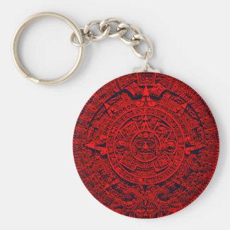 Aztec Calendar - red Keychains