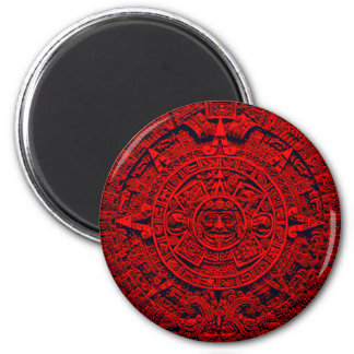 Aztec Calendar - red Magnet
