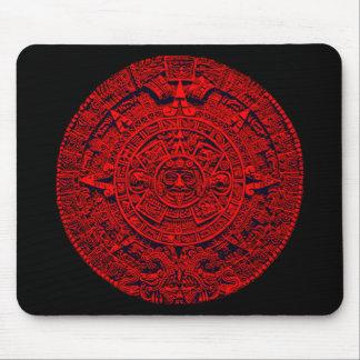Aztec Calendar - red Mouse Mat