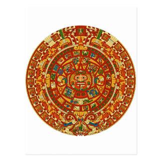 Aztec Calendar Stone or Sun Stone of Mexico. Postcard