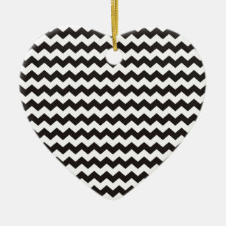 Aztec Chevron black and white zigzag stripes Ceramic Heart Decoration