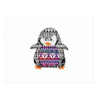 Aztec Chevron Tribal Cute Funny Penguin Postcard