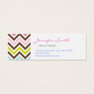 Aztec Colors - Chic Chevron Zigzag Pattern Mini Business Card