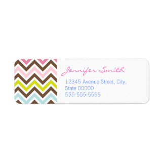 Aztec Colors - Chic Chevron Zigzag Pattern Return Address Label