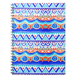 Aztec Colourful Blue Orange And White Pattern Notebooks