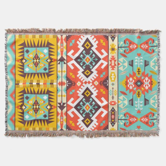 Aztec colourful fashion seamless pattern throw blanket