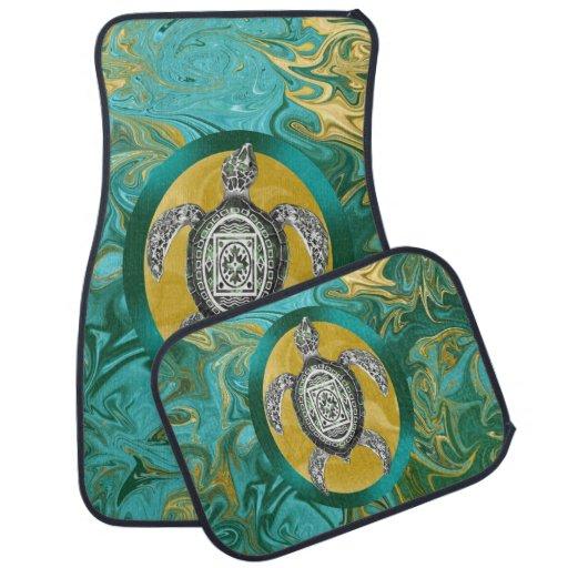 Aztec Emblem Sea Turtle Car Mat
