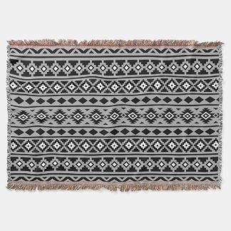 Aztec Essence Horizontal Ptn II Black White Grey Throw Blanket