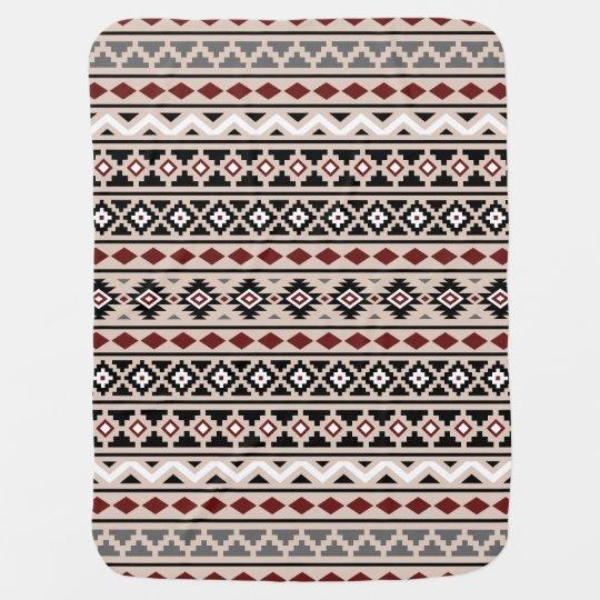 Aztec Essence II Ptn (H) Black White Grey Red Sand Pramblanket