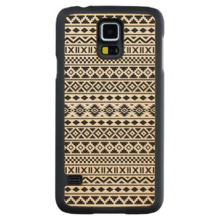 Aztec Essence Pattern Black on White Carved Maple Galaxy S5 Case