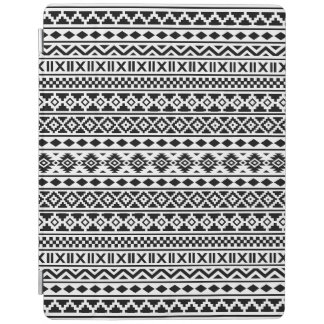 Aztec Essence Pattern Black on White iPad Cover