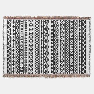 Aztec Essence Pattern Black on White Throw Blanket