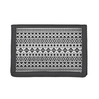 Aztec Essence Pattern Black on White Trifold Wallets