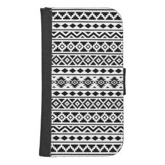 Aztec Essence Pattern II Black on White Samsung S4 Wallet Case