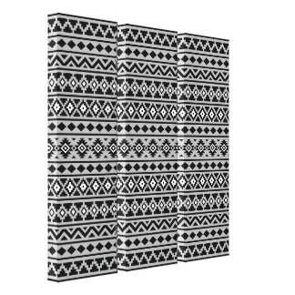 Aztec Essence Pattern II Black White Grey Canvas Print