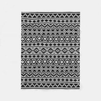 Aztec Essence Pattern II Black White Grey Fleece Blanket