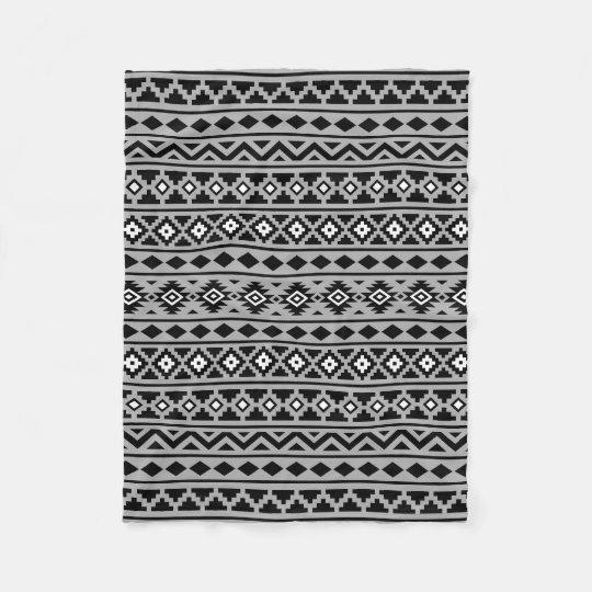 Aztec Essence Pattern II Black White Grey Fleece