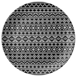 Aztec Essence Pattern II Black White Grey Plate