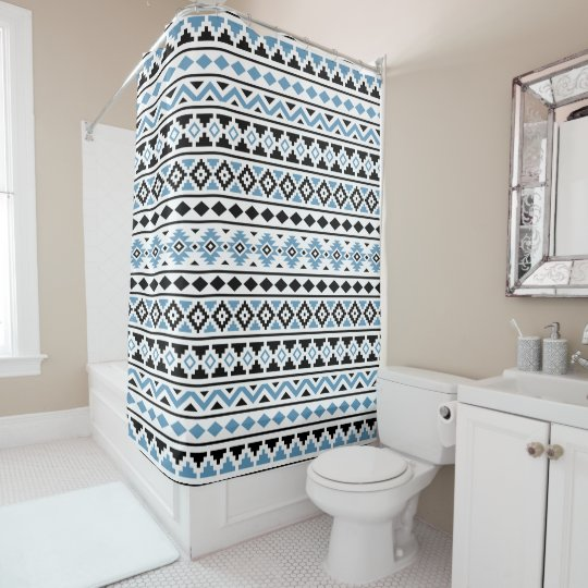 Aztec Essence Pattern II Blue Black White Shower