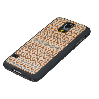 Aztec Essence Pattern II Rust Blue Cream Carved Maple Galaxy S5 Case