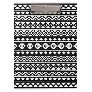 Aztec Essence Pattern II White on Black Clipboard