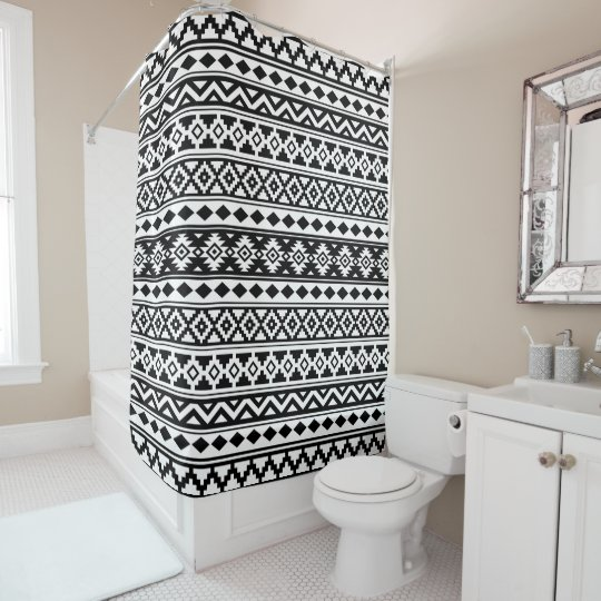 Aztec Essence Pattern IIb Black & White Shower