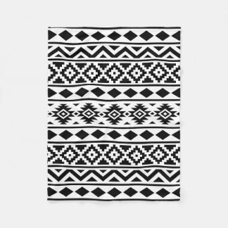 Aztec Essence Pattern III Black on White Fleece Blanket