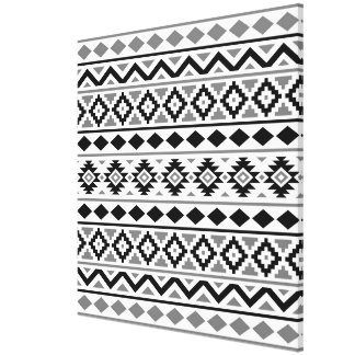 Aztec Essence Pattern III Black White Gray Canvas Print